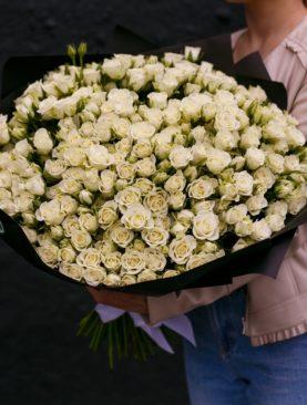 Букет из 101 белой кустовой розы 50 см (Кения)