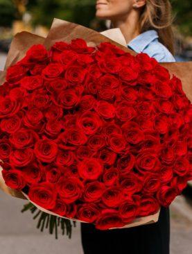 Букет из 101 красная розы 70 см (Эквадор)