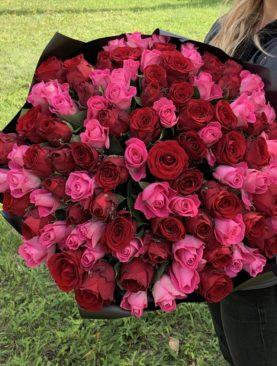 Букет из 101 красной и розовой розы 50 см (Кения)