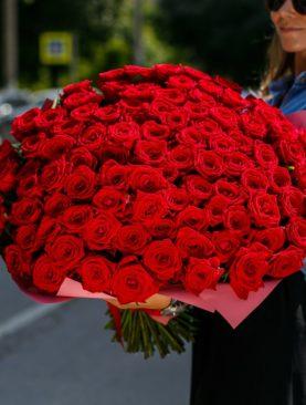 Букет из 101 красной розы 40 см (РФ)