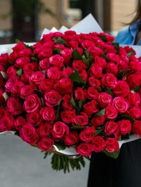 Букет из 101 розовой розы 50 см (Кения)