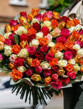 Букет из 101 розы микс 50 см (Кения)