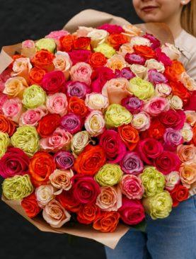 Букет из 101 розы микс 70 см (Эквадор)
