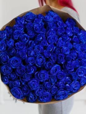 Букет из 101 синей розы 70 см (Эквадор)