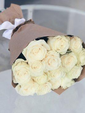 Букет из 15 белых роз 50 см (Эквадор)