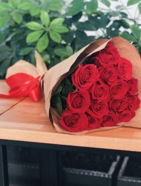 Букет из 15 красных роз 50 см (Эквадор)