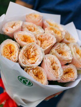 Букет из 15 пионовидных роз Вувузела Пич 50 см
