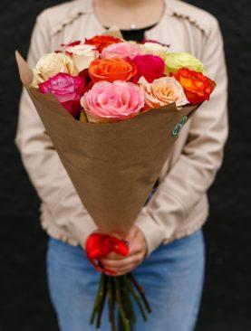 Букет из 15 роз микс 70 см (Эквадор)