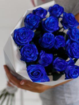 Букет из 15 синих роз 70 см (Эквадор)