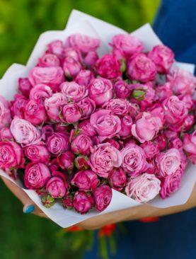 Букет из 25 пионовидных кустовых роз Леди Бомбасти 50 см