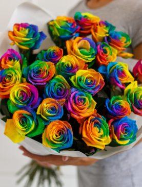 Букет из 25 радужных роз 70 см (Эквадор)
