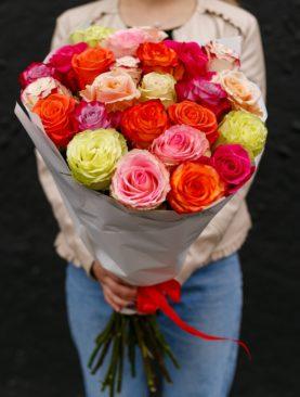 Букет из 25 роз микс 70 см (Эквадор)