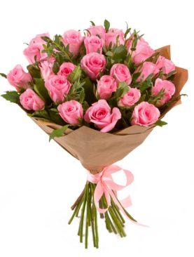 Букет из 25 розовых роз 50 см (Кения)