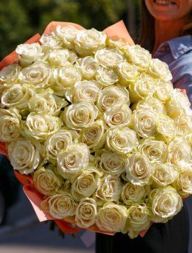 Букет из 51 белой розы 70 см (Эквадор)