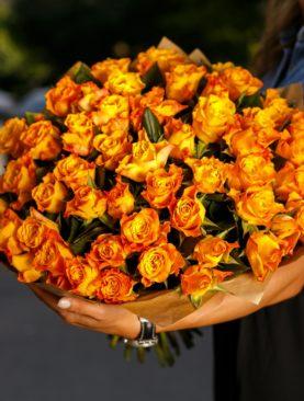 Букет из 51 оранжевой розы 50 см (Кения)