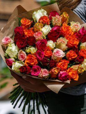Букет из 51 розы микс 50 см (Кения)