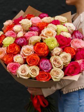 Букет из 51 розы микс 70 см (Эквадор)