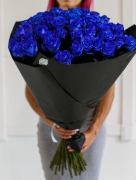 Букет из 51 синей роз 70 см (Эквадор)