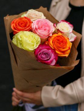 Букет из 7 роз микс 70 см (Эквадор)
