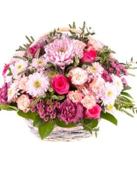 Корзинка для мамы с хризантемами