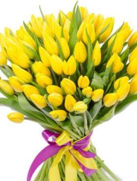 Букет желтых тюльпанов 75 шт