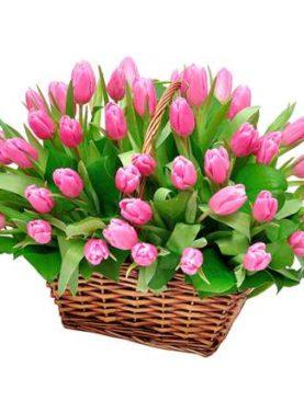 Корзина из 51 розового тюльпана