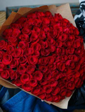 Букет из 101 красной розы 50 см (Эквадор)
