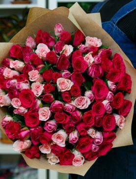 Букет из 101 розы розовый микс 50 см (Кения)