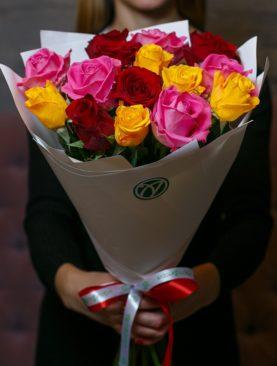 Букет из 15 роз микс 50 см (Кения)