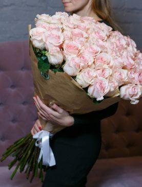 Букет из 51 розовой розы 70 см (Эквадор)