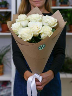 Букет из белых роз 50 см (Эквадор)